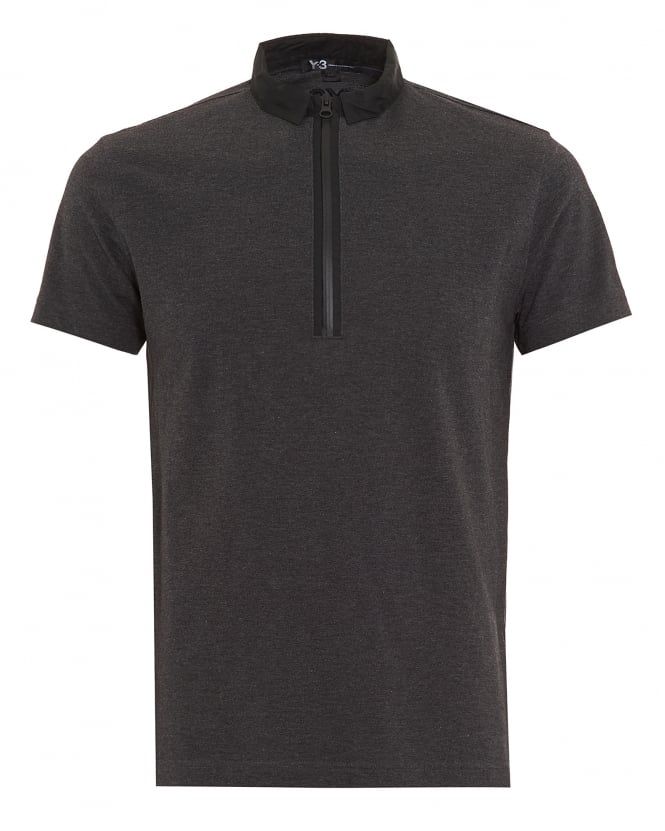 Y-3 Mens Steel Grey Regular Fit Zip Polo Shirt
