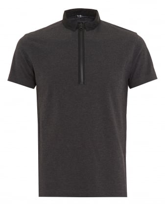 Mens Steel Grey Regular Fit Zip Polo Shirt
