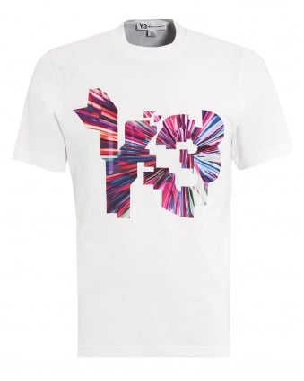 Mens T-Shirt, 3D Graphic White Tee