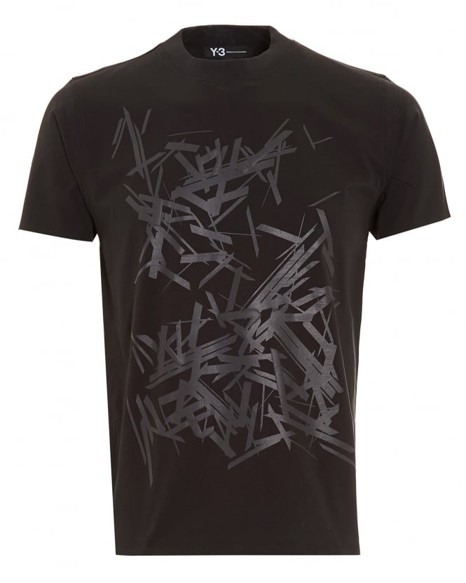 Y-3 Mens T-Shirt, Abstract Graphic Print Black Tee