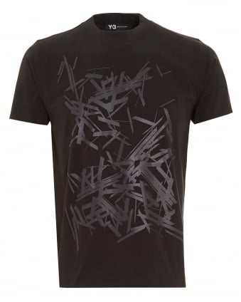 Mens T-Shirt, Abstract Graphic Print Black Tee