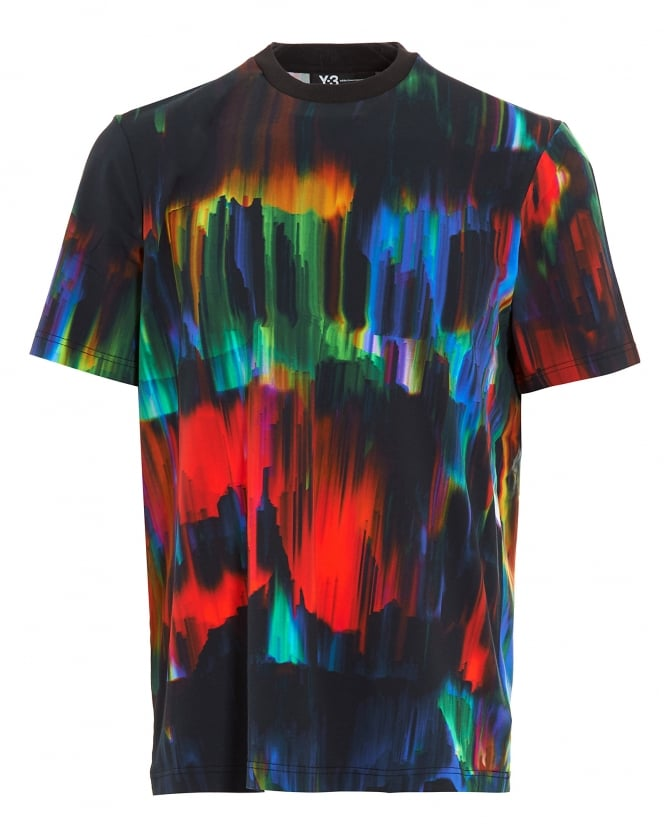 Y-3 Mens T-Shirt, All-Over Graphic Print Black Tee