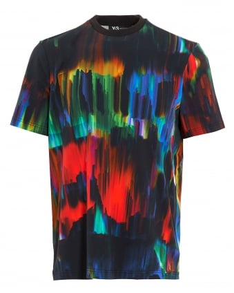 Mens T-Shirt, All-Over Graphic Print Black Tee