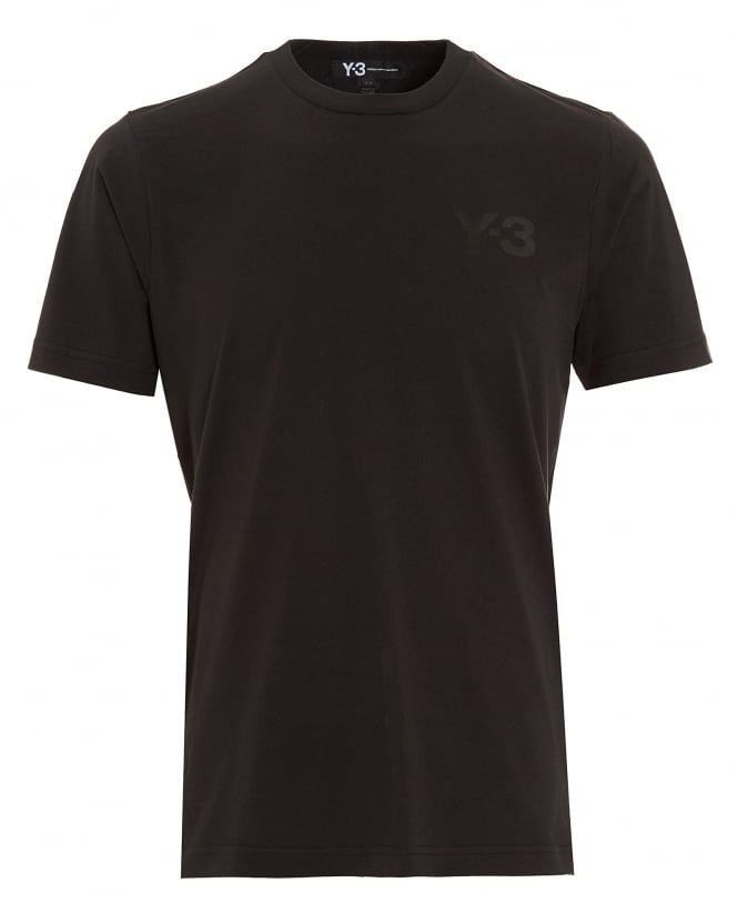 Y-3 Mens T-Shirt, Black Crew Neck Logo T-Shirt