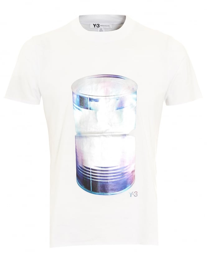 Y-3 Mens T-Shirt, Large Can Graphic White Tee