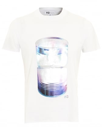 Mens T-Shirt, Large Can Graphic White Tee
