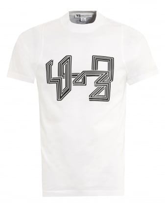 Mens T-Shirt, Technology Print White Tee