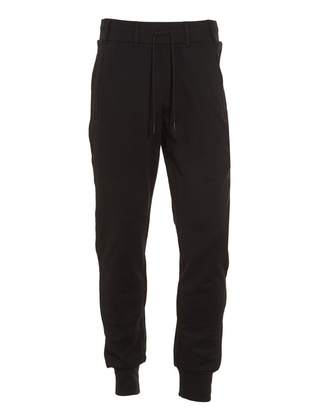 Y-3 Mens Track Pant, Black Logo Slim Fit Joggers