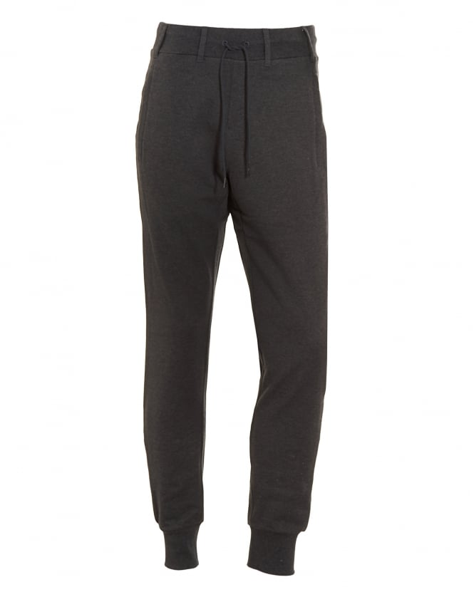 Y-3 Mens Track Pant, Charcoal Grey Logo Slim Fit Joggers