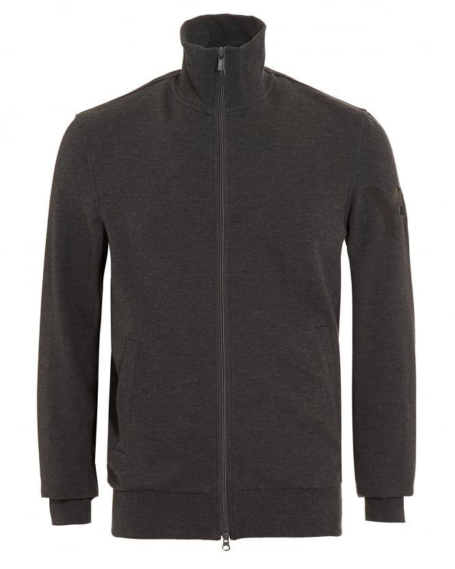 Y-3 Mens Track Top, Charcoal Grey Logo Zipped Sweatshirt