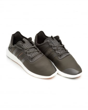 Mens Yohji Run Trainers, Mesh All Black Olive Sneakers