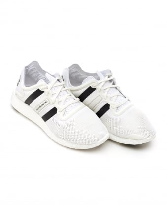 Mens Yohji Run Trainers, White Mesh Black Stripe Boost Sneakers