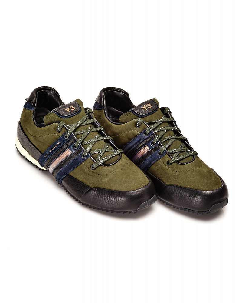 Y-3 Trainer Military Olive Green Sprint Leather Trainers ad03d8e21