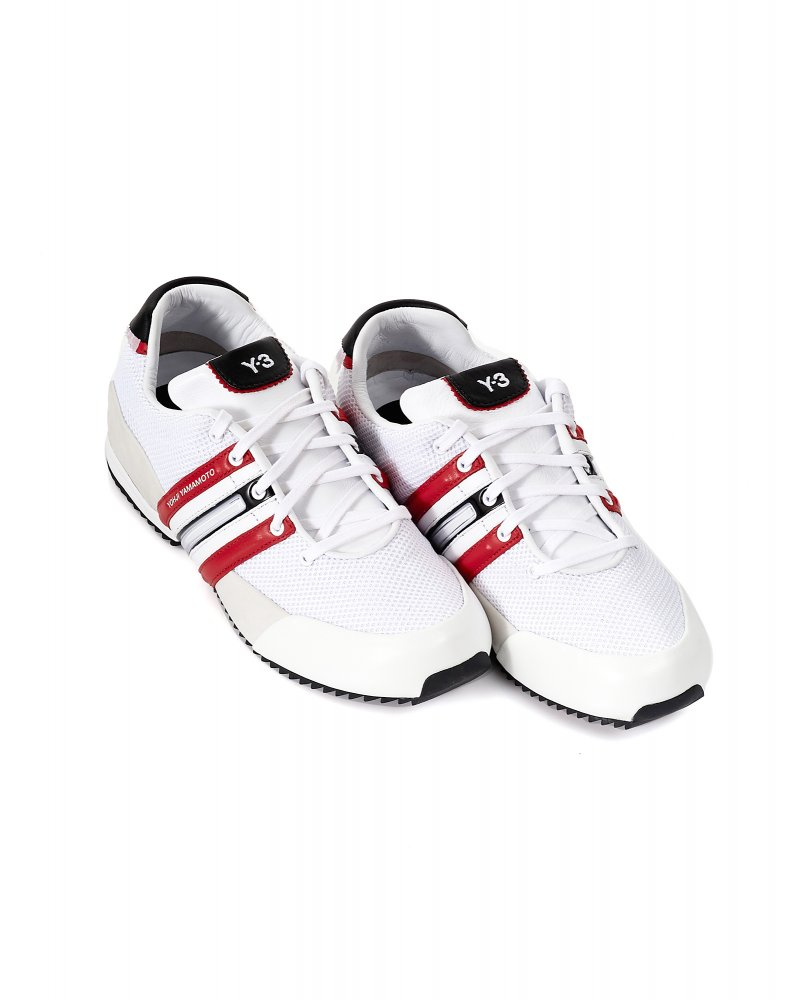 484470063b75 Y-3 Trainers White   Red Sprint Leather Mesh Trainer