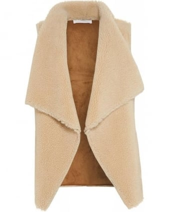 Zealand Cream Vest, Reversible Faux Shearling Gilet